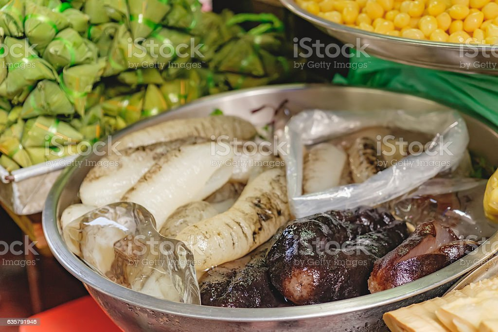 Fresh sea cucumber for sale stock photo