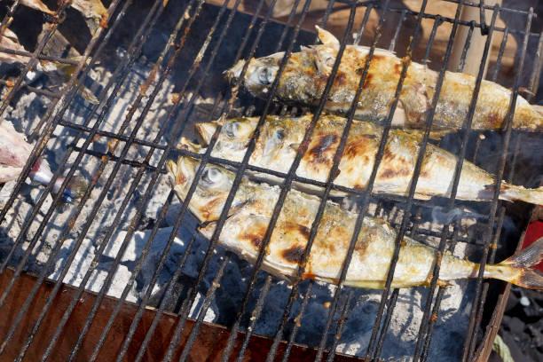 fresh sea fish on the grill. - peixe na grelha imagens e fotografias de stock