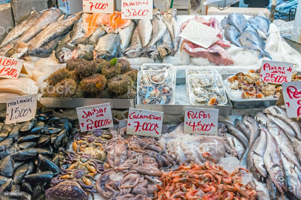Fresh Seafood And Fish For Sale At A Market Stock Photo - Download Image Now