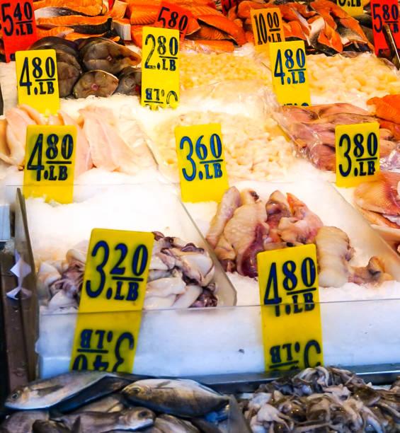 Fresh Seafood at a Fish Market stock photo