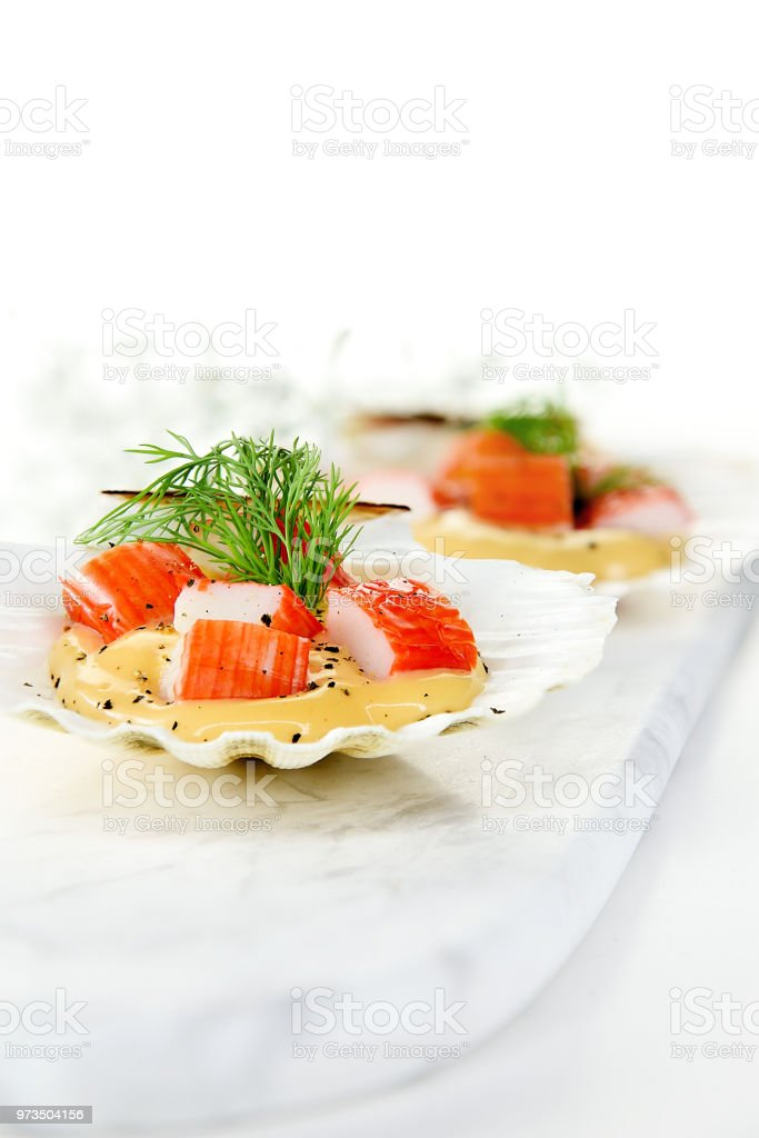 Fresh Seafood Canapes stock photo