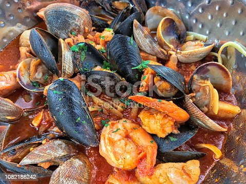 istock Fresh seafood clams, mussels and prawns 1082186242