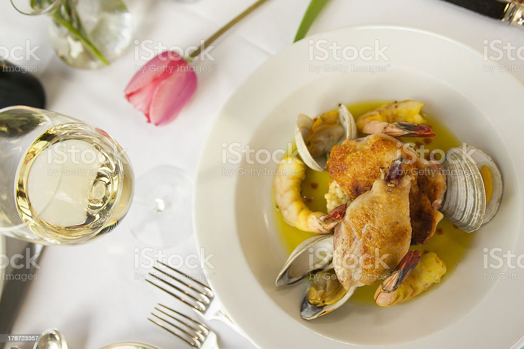 Fresh seafood dinner plate. royalty-free stock photo