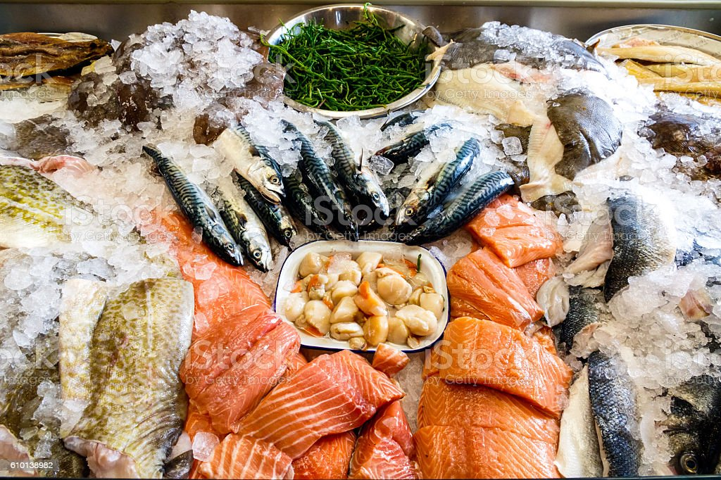 Fresh Seafood Displayed on Ice stock photo