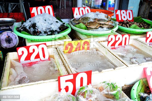 635931692istockphoto Fresh seafood for sale at market 497831356