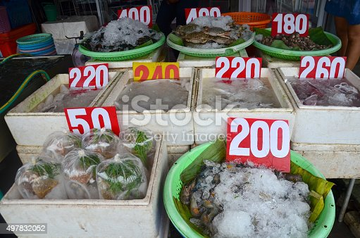635931692istockphoto Fresh seafood for sale at market 497832052