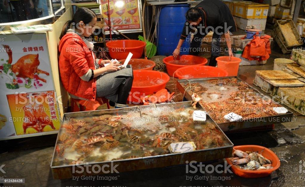 Fresh Seafood For Sale At Xiamen Night Market Fujian