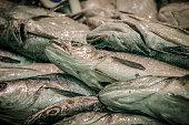 Fresh seafood, fresh sea fish with a headFresh seafood, fresh sea fish with a head