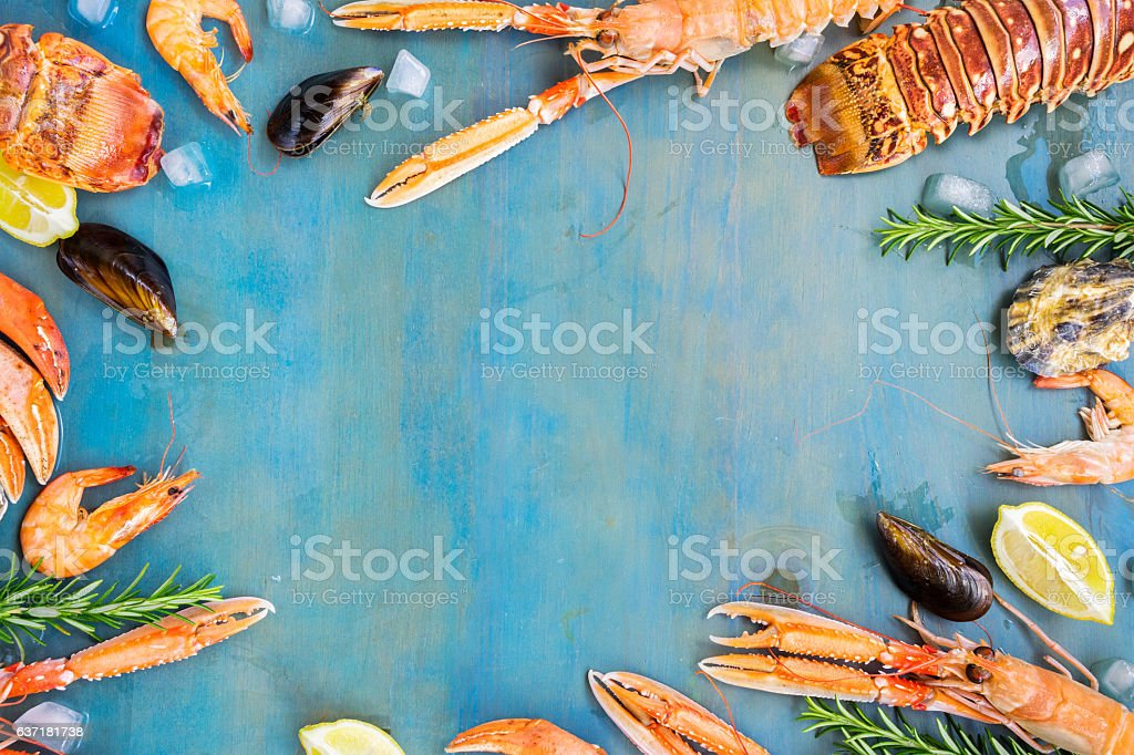 Fresh seafood on blue background stock photo