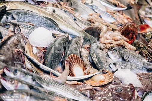 Variety of  alot of fresh seafoods on ice at the fish market