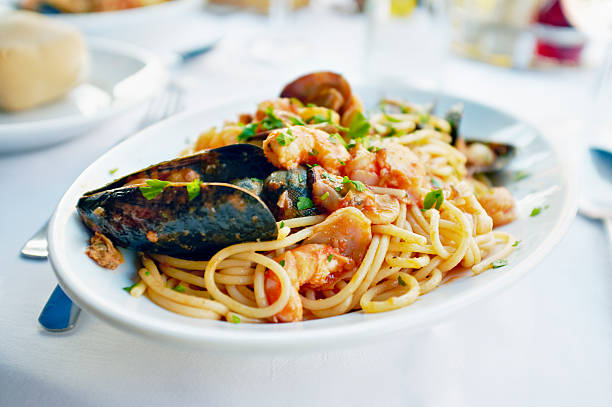 Fresh seafood pasta stok fotoğrafı