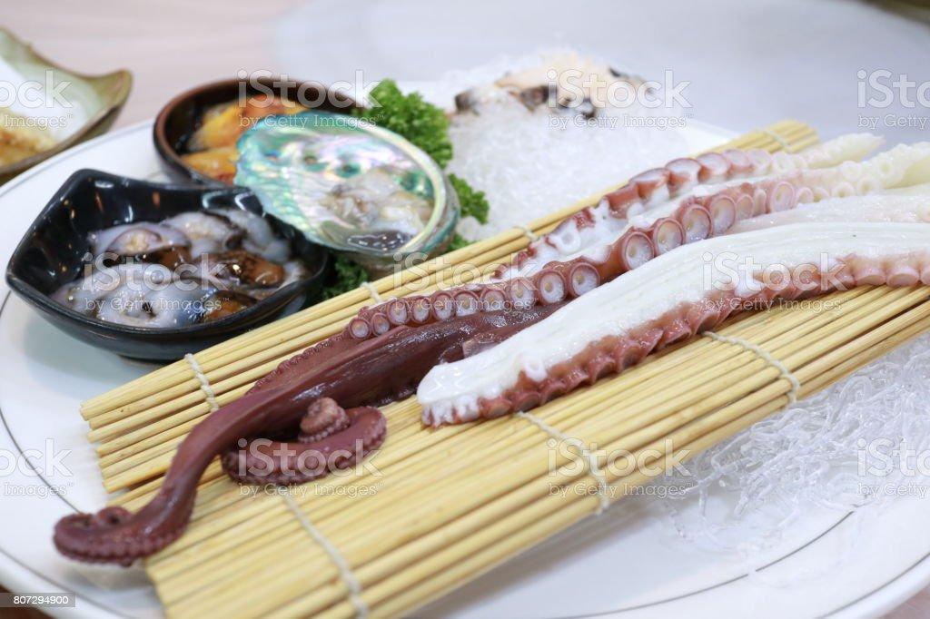 Fresh seafood, sushi stock photo