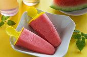 Fresh self made watermelon ice-cream with mint