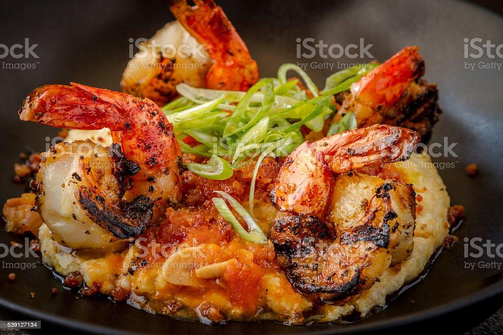 Fresh Shrimp and Creamy Grits stock photo