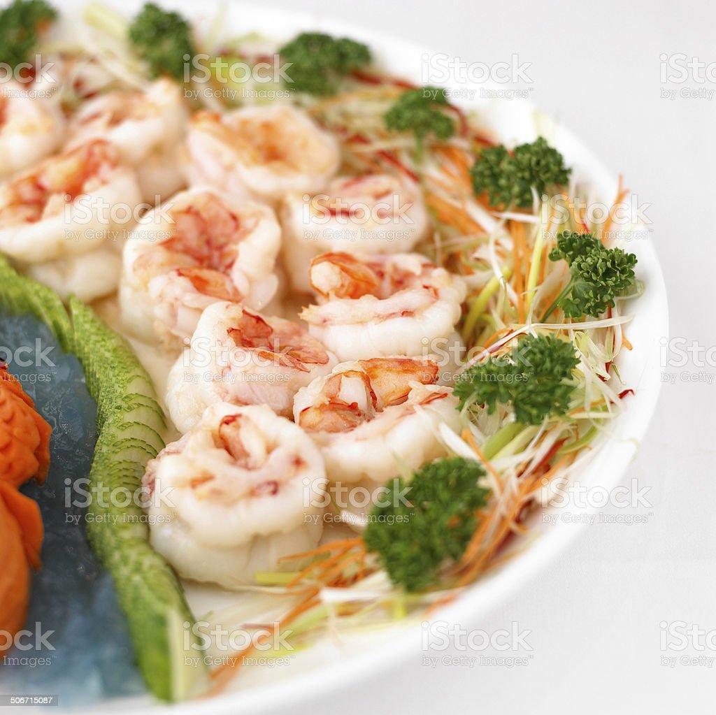 fresh shrimp salad close up royalty-free stock photo