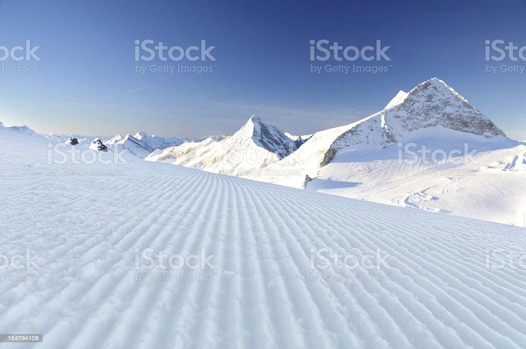 fresh ski track at Hintertux stock photo