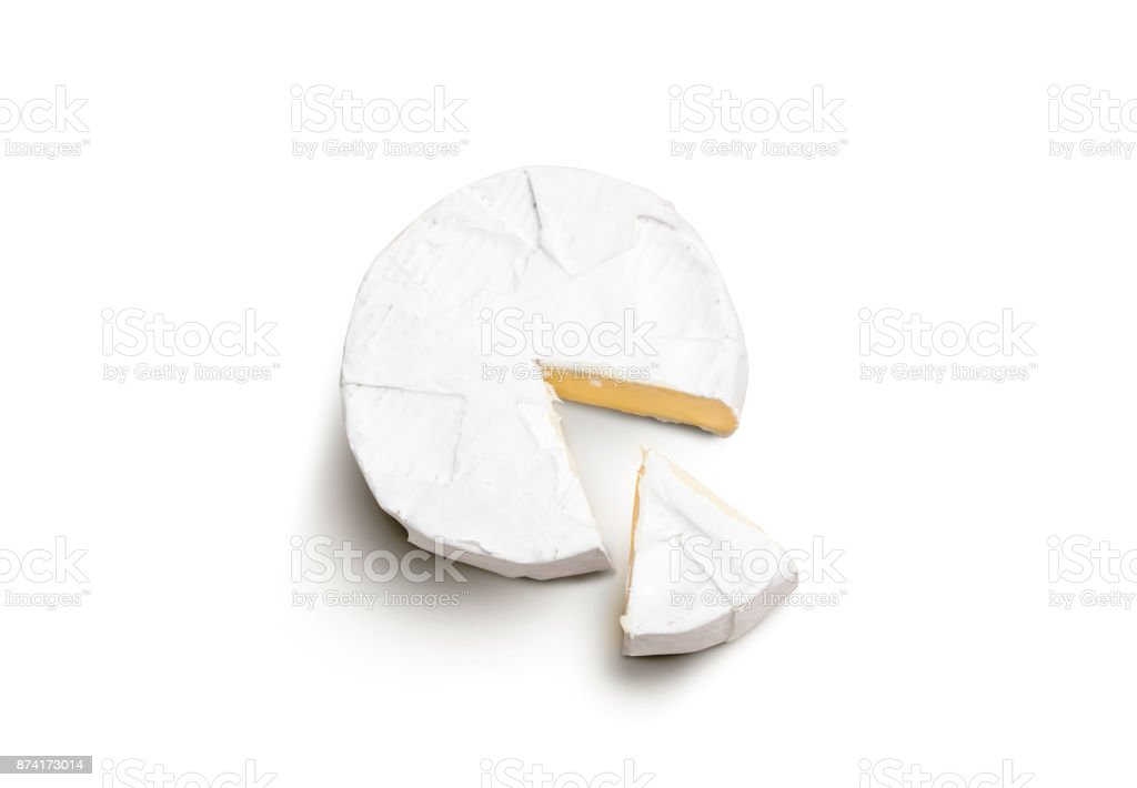 Fresh slice Camembert cheese natural on white background stock photo