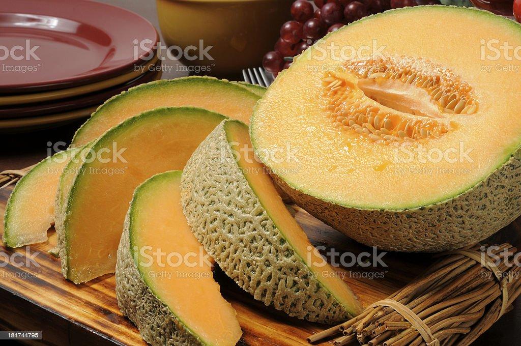 Fresh slice canteloupe stock photo