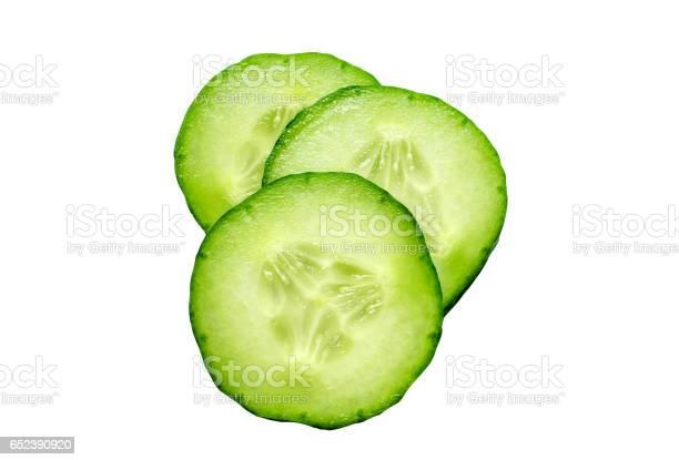 Fresh Slice Cucumber Isolated On White Background - Fotografias de stock e mais imagens de Alimentação Saudável