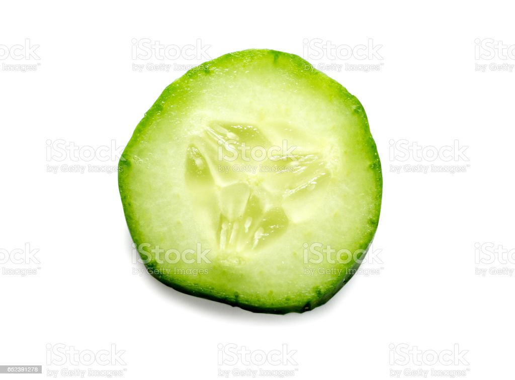 Fresh slice cucumber isolated on white background stock photo