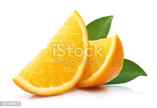 Fresh Slice Orange isolated on white background.