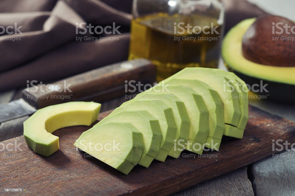 Fresh sliced avocado royalty-free stock photo