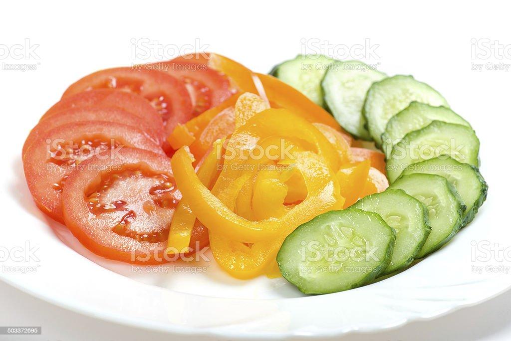 Fresh sliced vegetables stock photo