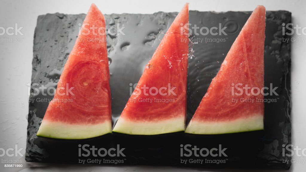 Fresh slices of watermelon stock photo