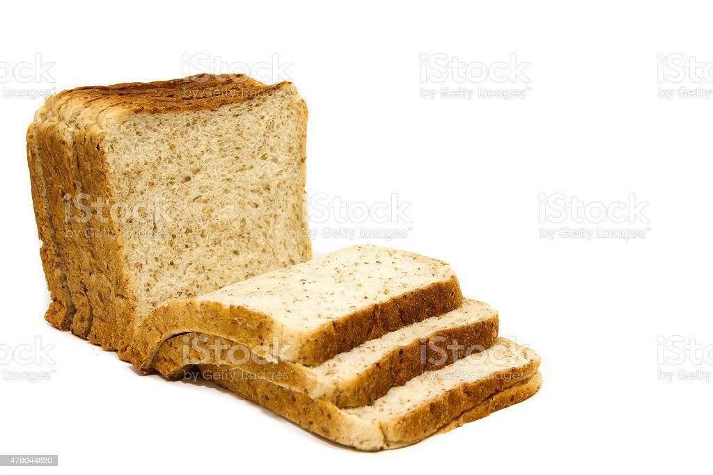 Fresh slices of whole wheat bread stock photo