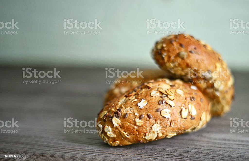 Fresh small roll on table stock photo