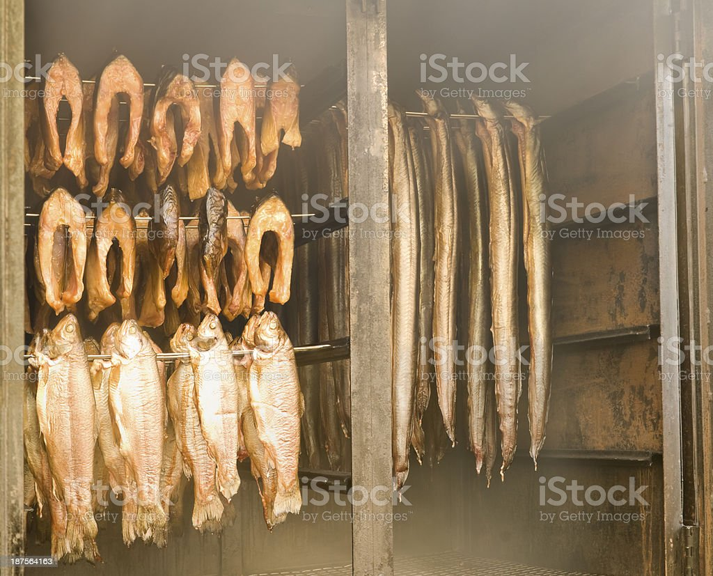 Fresh smoked fish in a smokehouse: carps, trouts and eels stock photo