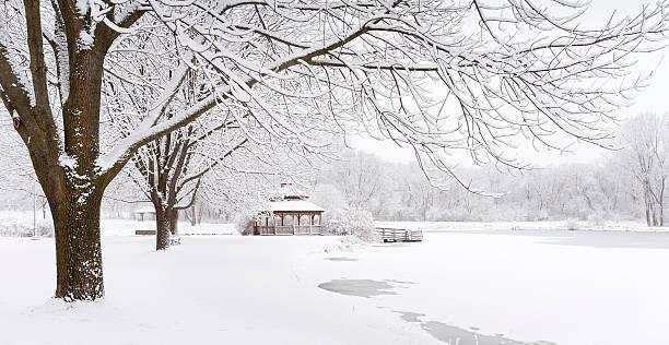 Fresh snow on the pond, panoramic stock photo