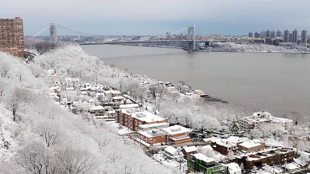 Fresh Snow Over Edgewater, NJ and NYC stock photo