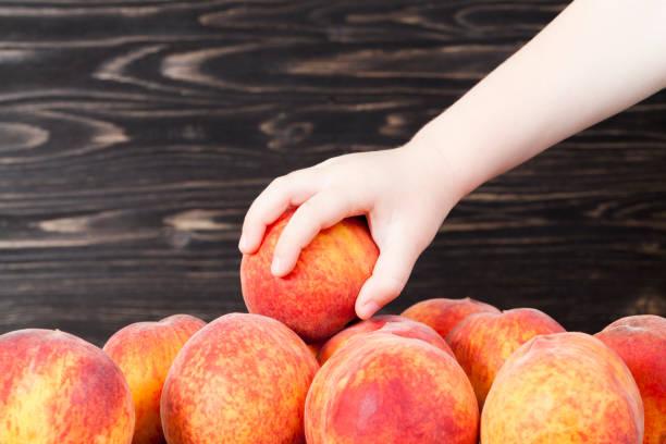 fresh soft peaches - pesche bambino foto e immagini stock