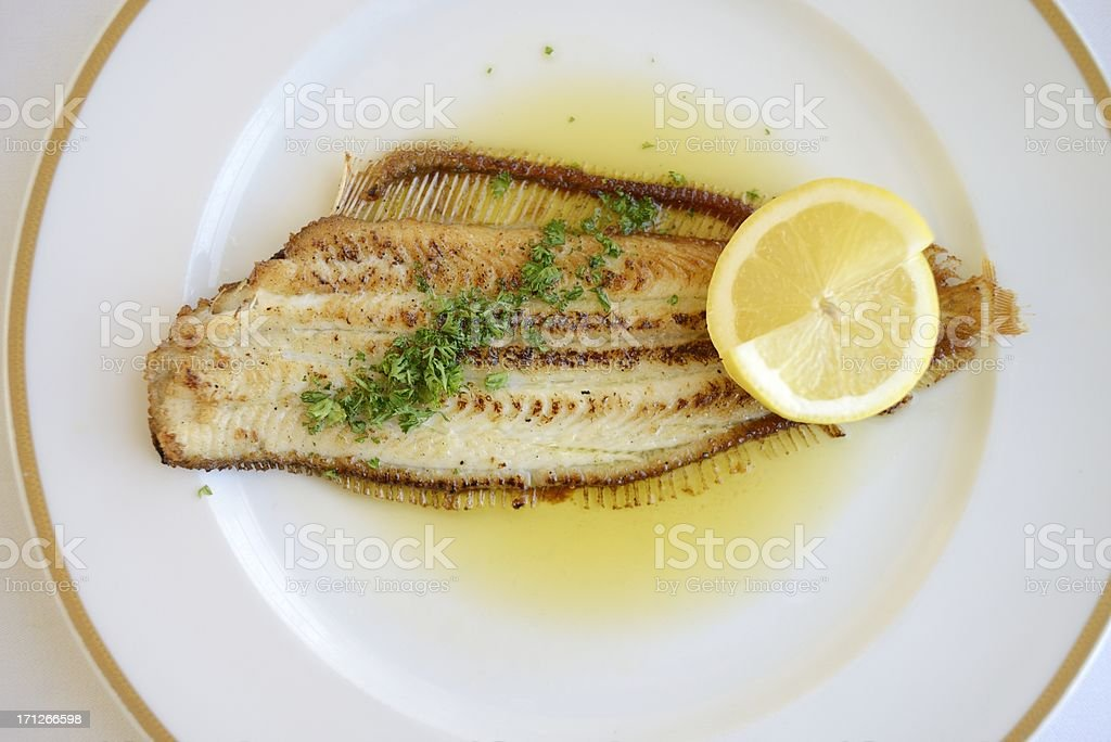 Fresh Sole Meuniere Served on a Plate royalty-free stock photo