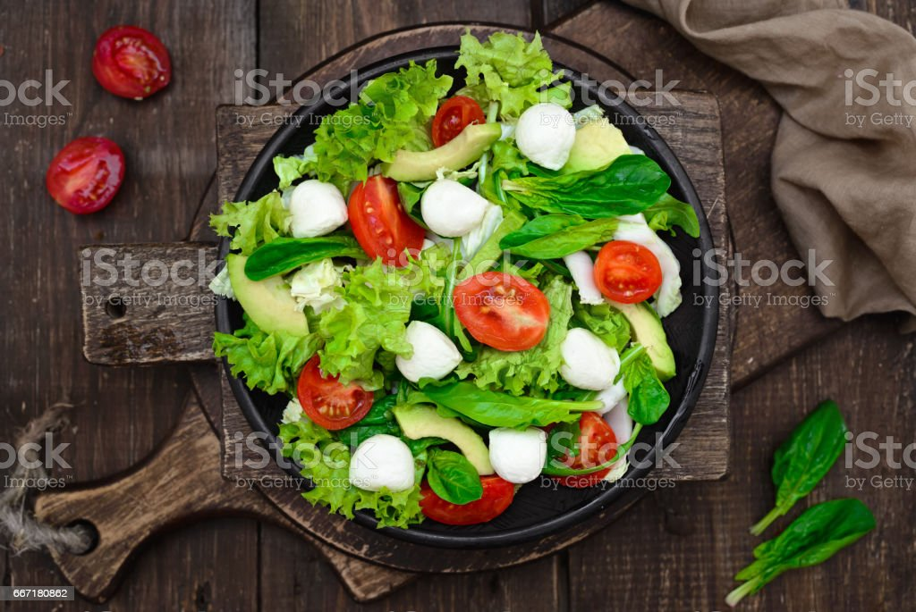 Fresh spring appetizing with Spinach stock photo