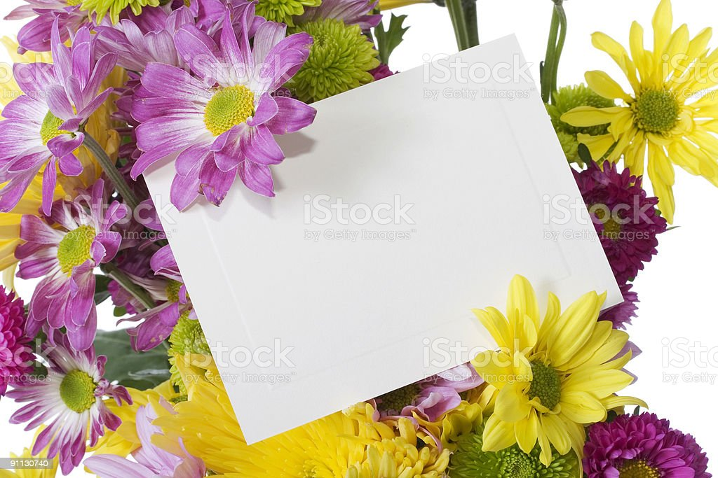 Fresh spring flower bouquet with note card royalty-free stock photo
