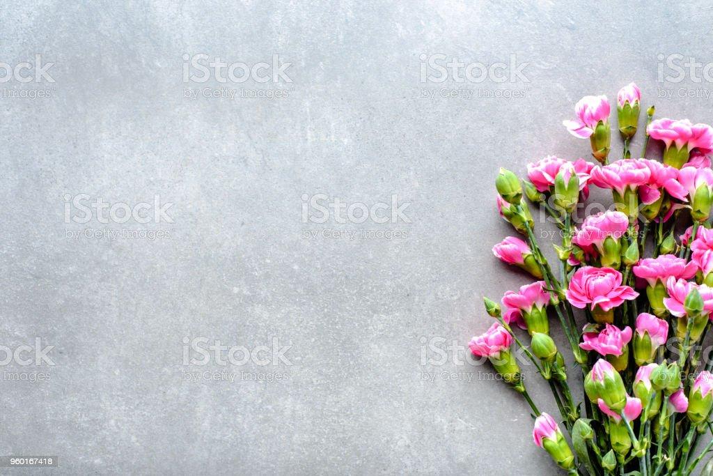 Fresh Spring Flowers Bouquet On Gray Background Wedding Invitation ...