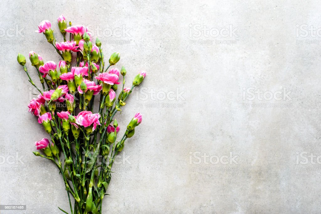 Fresh Spring Flowers Bouquet On Grey Background Flat Lay Overhead