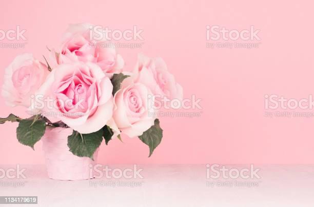 Fresh spring romance roses bouquet in pastel pink color on white wood picture id1134179619?b=1&k=6&m=1134179619&s=612x612&h=8taysbr397luczdqjkk0bjtyay4ljxpvahfaeqzd4o4=