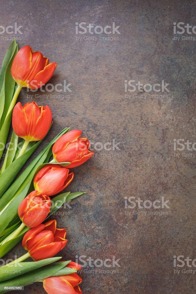 Fresh spring tulips on rustic stone background stock photo