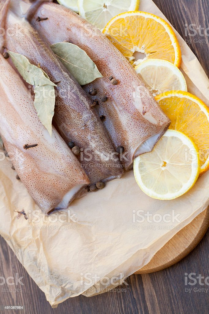 Fresh squid carcass royalty-free stock photo