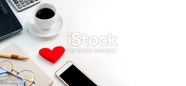 Fresh start of the day. Coffee with heart for business on Valentines day.