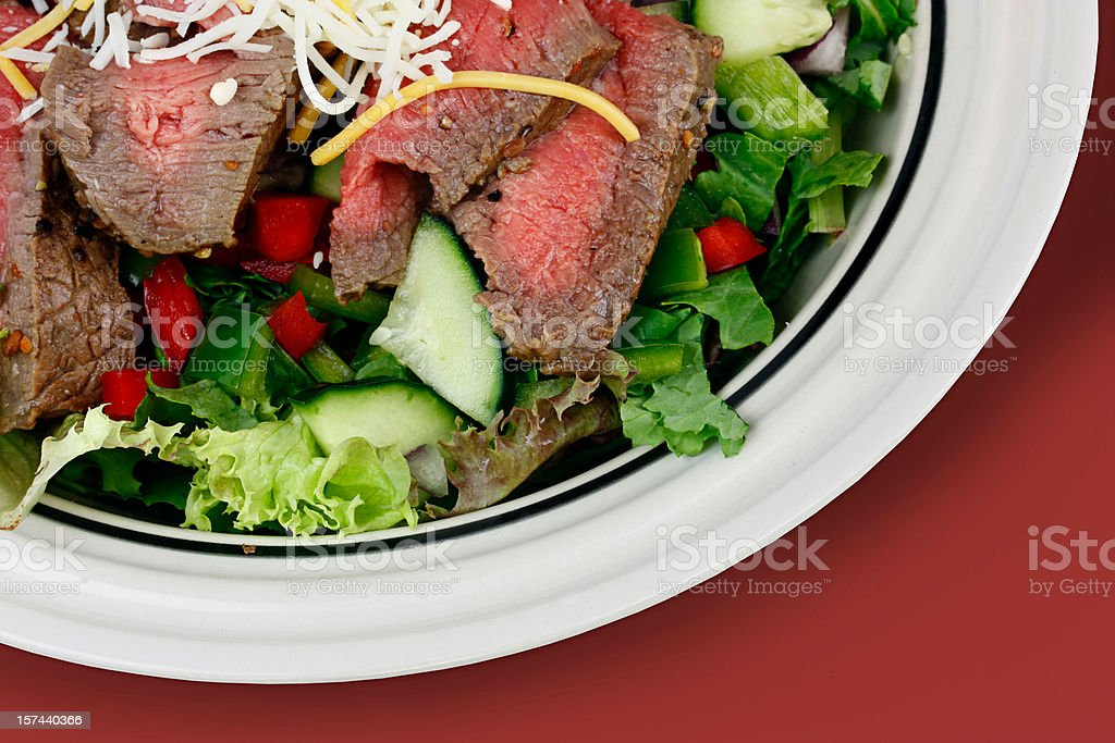 Fresh steak salad from above with clipping path red royalty-free stock photo