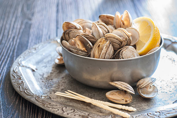 fresh steamed clams - gestoomd stockfoto's en -beelden