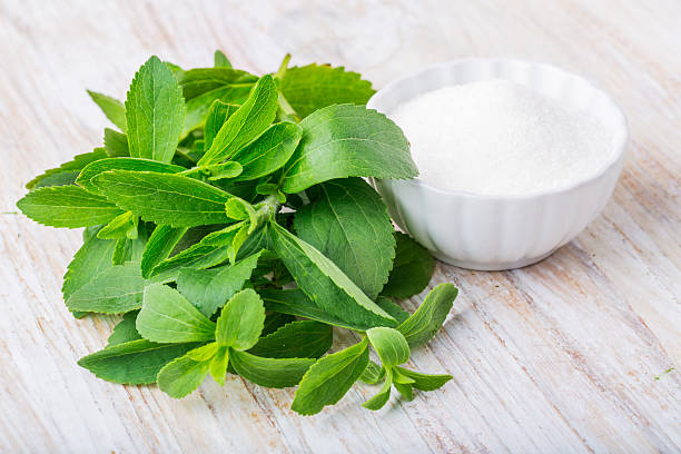 fresh stevia leaves and bowl with sugar - sweeteners stock photos and pictures