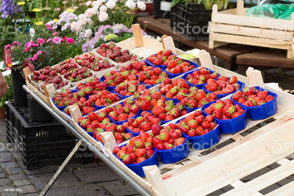 Fresh Strawberries for sale in a fruit market stock photo