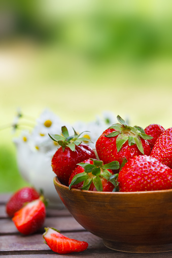 Fresh Strawberries In A Bowl Stock Photo - Download Image Now