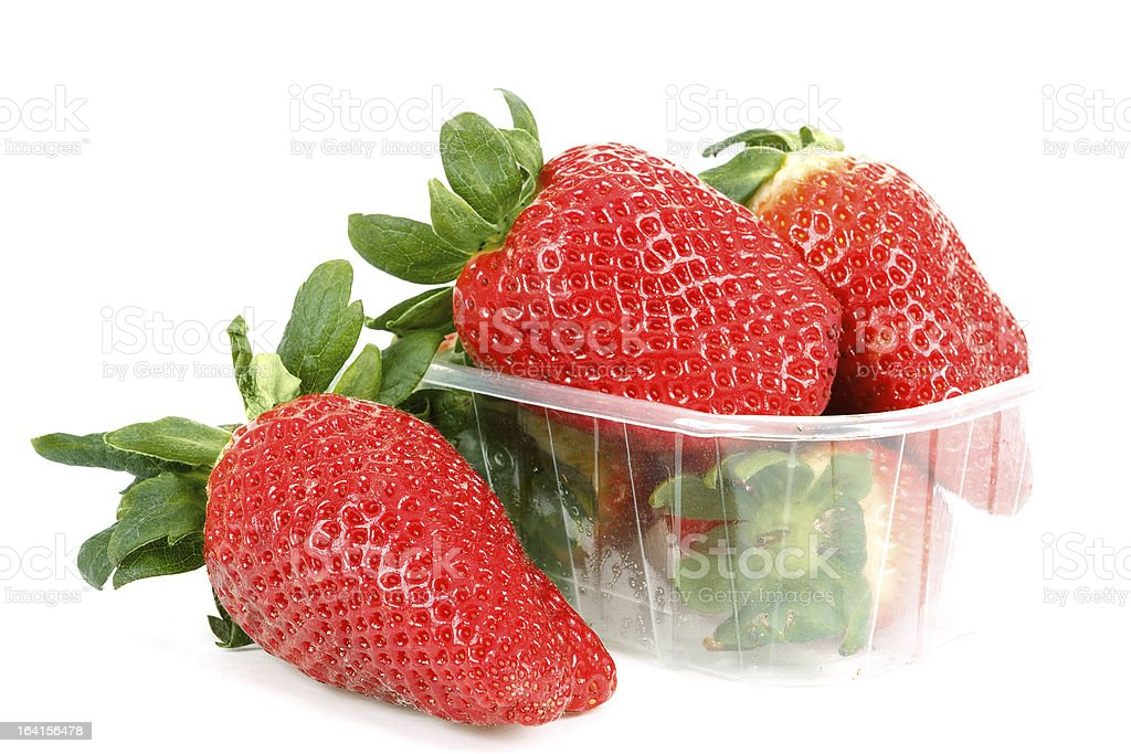 fresh strawberries in box on white royalty-free stock photo