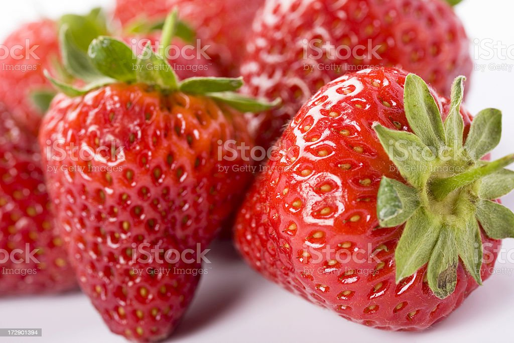 Fresh strawberries, isolated on white background royalty-free stock photo